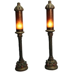 Pair of 1920s Polychrome Spanish Revival Mica Table Lamps