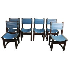 Set of 6 Blue Side Chairs, circa 1920s