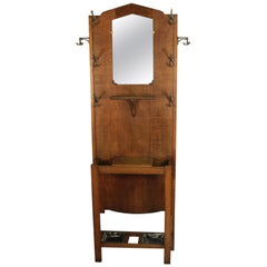 Antique Mission Arts circa 1910 Hall Tree with Mirror and Umbrella Stand