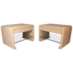 Pair of Midcentury Karl Springer Style End Tables