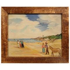 1930 Mexican Painting Primitive Seascape Scene