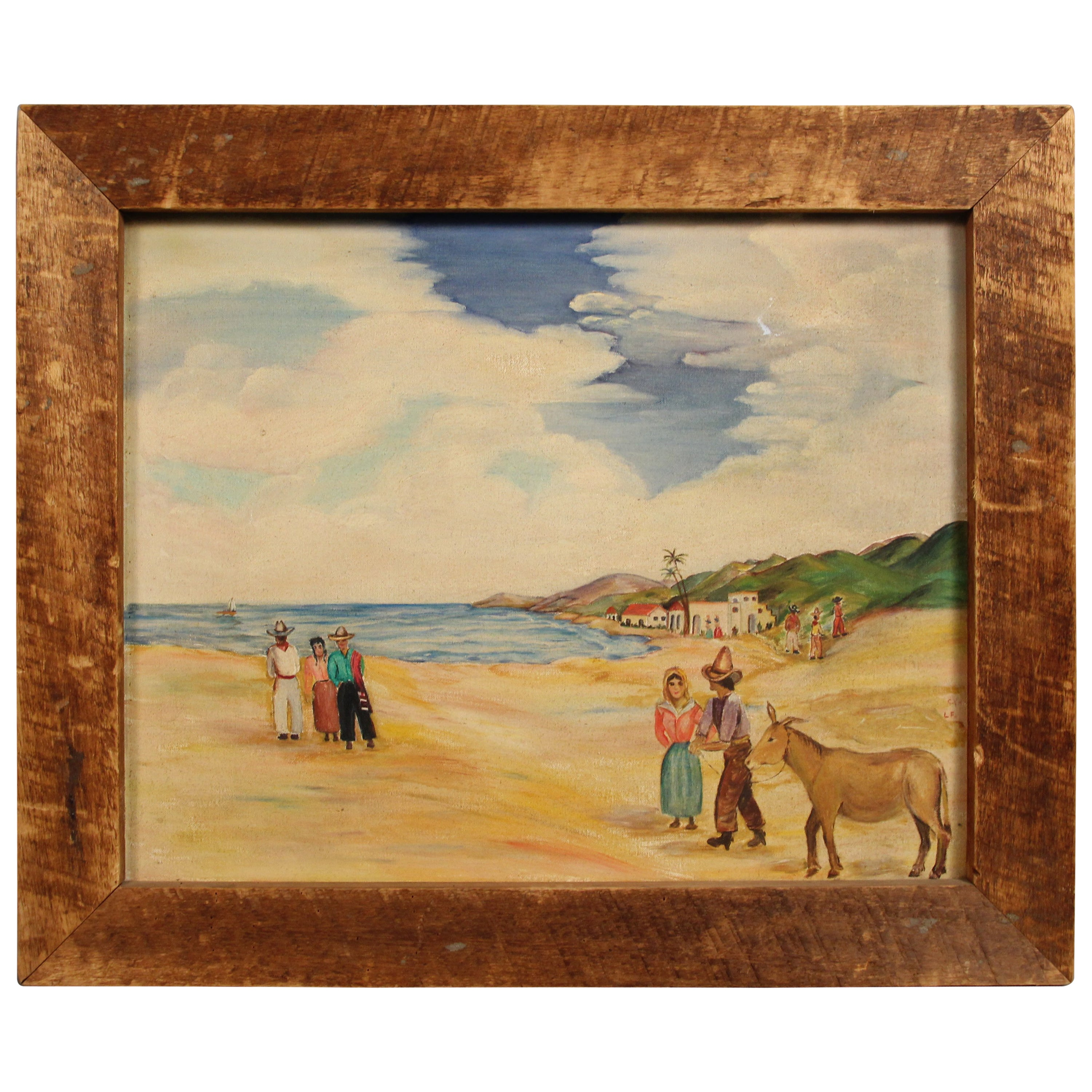 American Primitive Country House Painting at 1stdibs