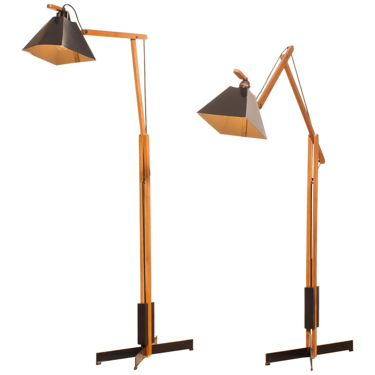 1950s very rare teak and metal floor lamp by luxus for sale at 1stdibs 1950s a pair of very rare teak and metal floor lamps by luxus aloadofball Images