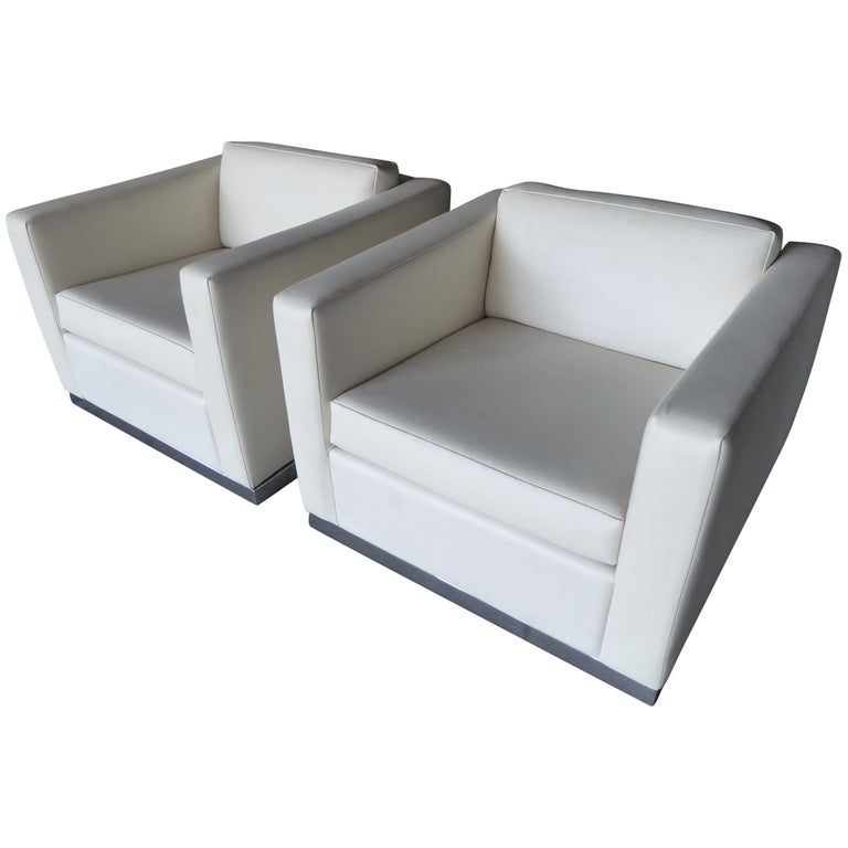Pair of Vintage Canadian Cube Chairs For Sale