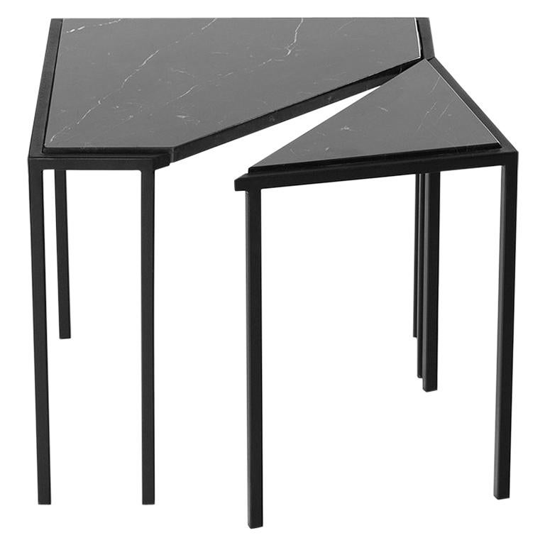 Split Side Table, by Rain, Contemporary Side Table, Stainless Steel and Marble For Sale