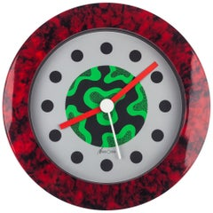 Memphis Wall Clock, Red Marble Effect, du Pasquier & Sowden x Neos, Italy, 1980s