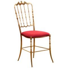 1950s, Brass and Velvet Chair by Chiavari, Italy