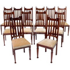 Set of 12 Arts & Crafts Walnut Dining Chairs
