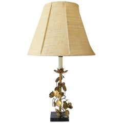 Midcentury Itaiian Gold Gilt Tole Marble Table Lamp