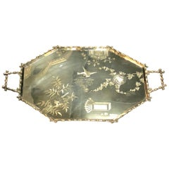 A Chinoiserie Silver Plated Tray with Faux Bamboo Frame and Handles, circa 1898