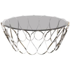 Aquarius Coffee & Cocktail Table in Stainless Steel with Glass Top
