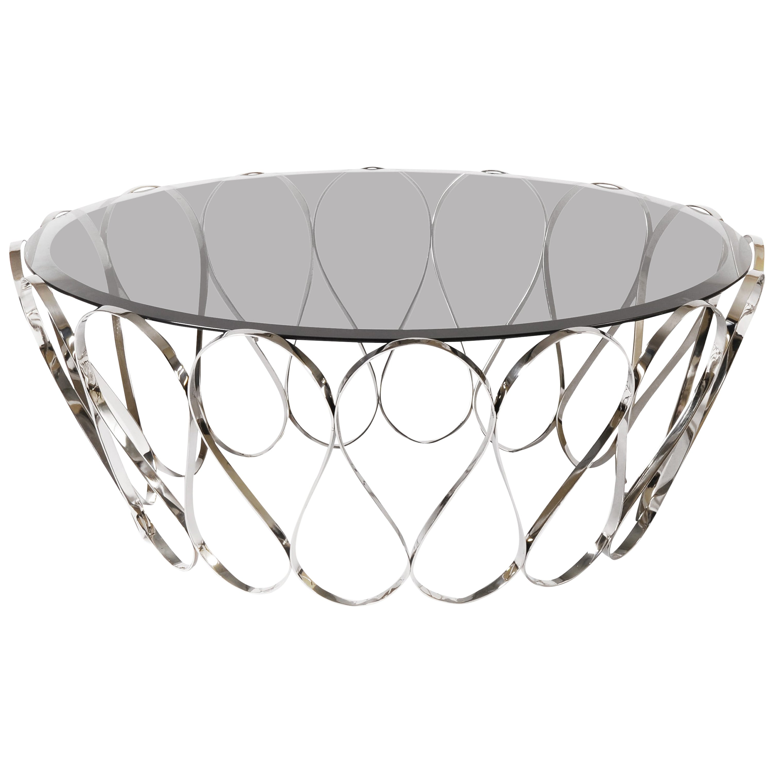 Aquarius Center Table in Stainless Steel with Glass Top
