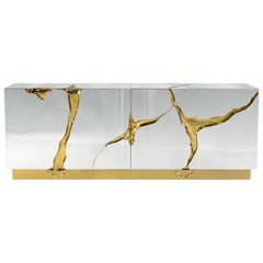 Lapiaz Sideboard in Stainless Steel with Gold Detail by Boca do Lobo