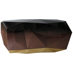 Diamond Sideboard in Chocolate Brown with Gold Leaf Detail by Boca do Lobo