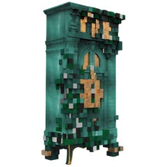 Piccadilly Cabinet in Green with Gold Leaf Detail by Boca do Lobo