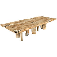 Empire Dining Table in Poplar Root Veneer and Polished Brass by Boca do Lobo