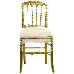Emporium Fur Dining Chair in Gold Painted Aluminum by Boca do Lobo