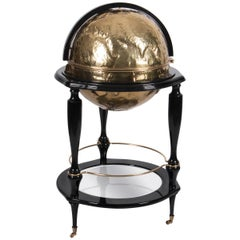 Equator Globe Bar in Black with Hammered Brass Detail by Boca do Lobo