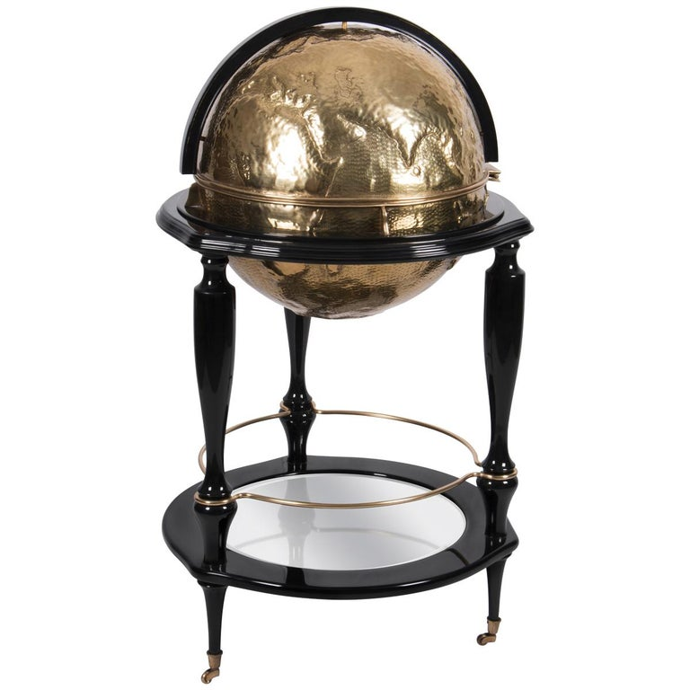 Equator Globe Bar In Black With Hammered Br Detail By Boca Do Lobo For