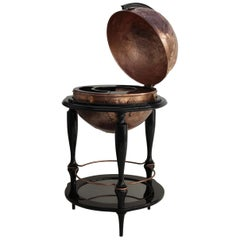 Equator Globe Bar in Black with Hammered Copper Detail by Boca do Lobo