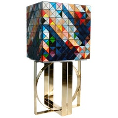 Pixel Cabinet with Multicolored Wood and Mirror Detail by Boca do Lobo