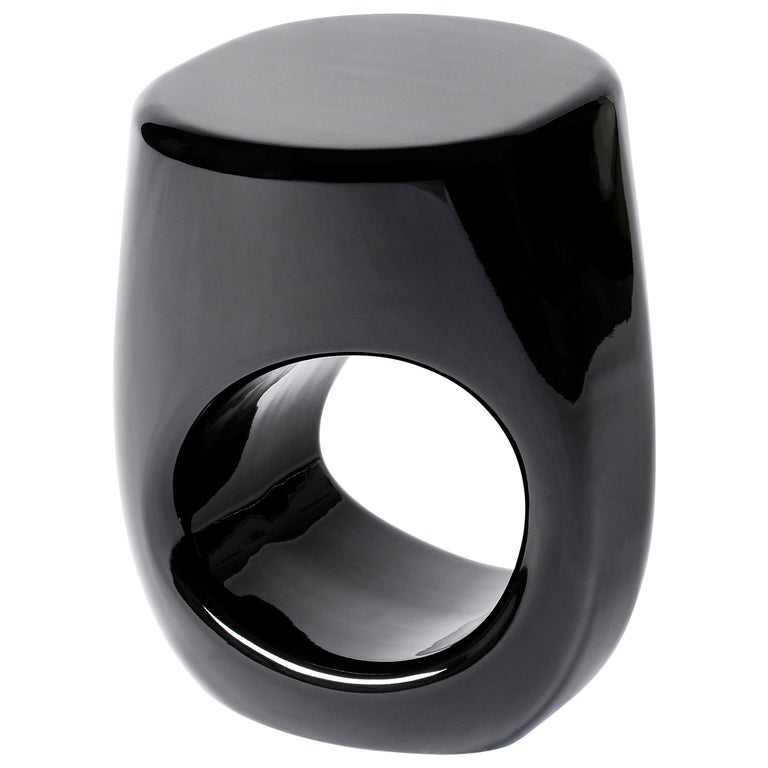 Erosion Stool in Black Lacquered Fiberglass by Boca do Lobo