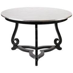 Flourish Pedestal Table with Silver Leaf Top by Boca do Lobo