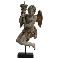 18th Century Italian Baroque Angel with Candleholder