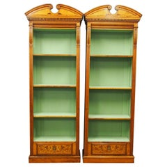Pair of Neoclassical Style Satinwood Open Bookcases
