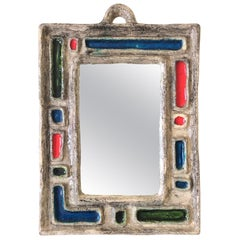 Abstract Composition Ceramic Mirror, France, circa 1960