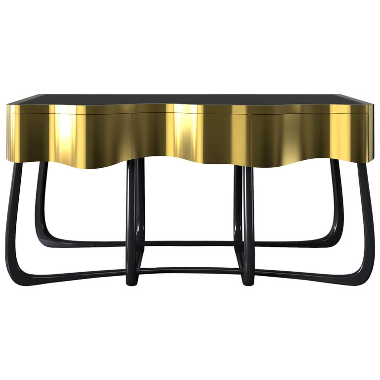 Sinuous Nightstand in Black Lacquered Wood & Polished Brass by Boca do Lobo For Sale