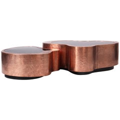 Small Wave Coffee & Cocktail Table in Polished Copper by Boca do Lobo