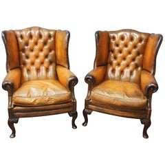 Pair of Georgian Style, Tan Leather Wing Chairs