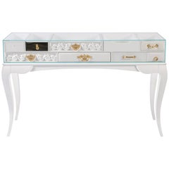 York White Console Table with Glass and Gold Detail by Boca do Lobo