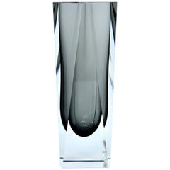 Smoked Grey Faceted Sommerso Murano Glass Vase by Mandruzzato