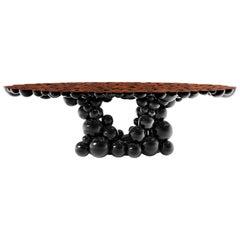 Newton Black Dining Table with Walnut Root Veneer by Boca do Lobo