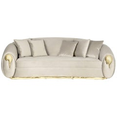Soleil Sofa with Polished and Casted Brass Detail by Boca do Lobo