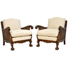 Pair of Antique Swedish Satin Birch Bergère Armchairs