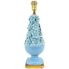Large Spanish 1960s Floral Majolica Blue Glazed Manises Ceramic Table Lamp