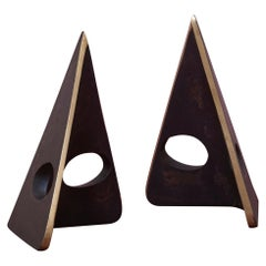 Pair of Carl Auböck Bookends #4100 in a Patina and Polish Brass Mix