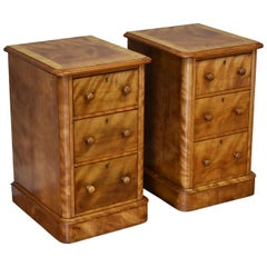 Pair of 19th Century Victorian Satinwood Bedside Chests