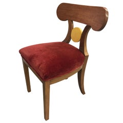 Set of Four French Art Deco Red Velvet Dining Chairs