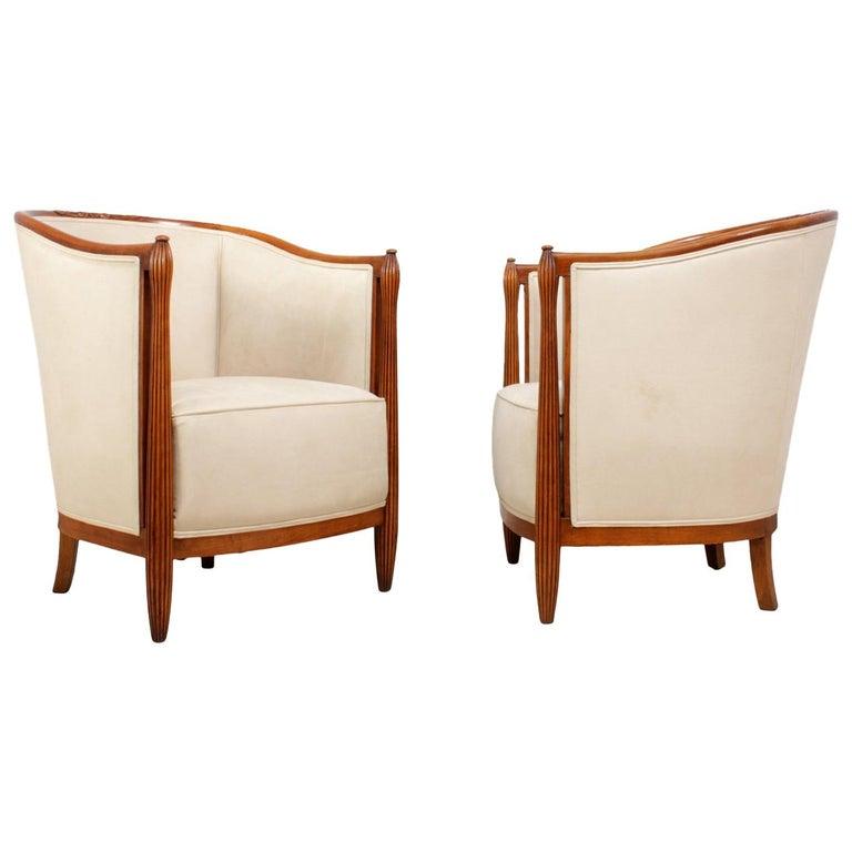 Pair of French Art Deco Salon Chairs by Paul Folllot, circa 1925