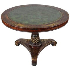 Fine and Rare Form Rosewood and Brass Regency Tilttop Table