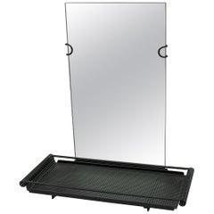 Rare Mathieu Matégot Black Metal Mirror by Artimeta, 1950s