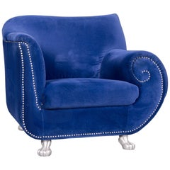 Bretz Gaudi Designer Velvet Fabric Armchair Blue One-Seat Chair