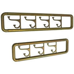 Pair of Foldable Wall Coat Racks in Brass, France, 1940s