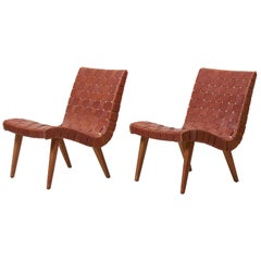 Pair of Early Jens Risom 654W Lounge Chairs by Knoll with Leather Webbing