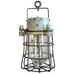 Industrial Bunker Hanging Lamp with Iron Cage from Elektrosvit, 1960s