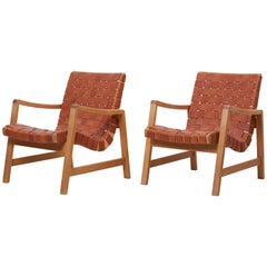 Set of Two Early Jens Risom Armchairs by Knoll with New Leather Webbing